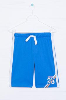 Printed Bermuda shorts in 100% cotton, Electric Blue, hi-res