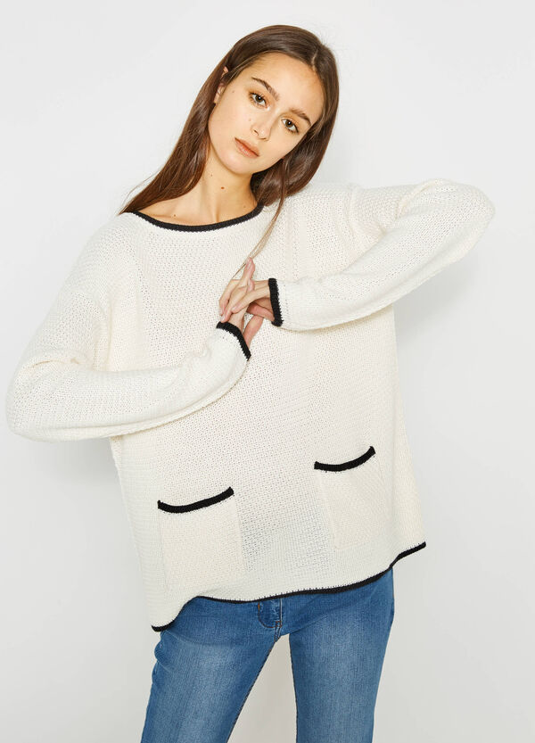 Knitted pullover with contrasting edging | OVS