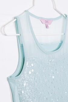 Solid colour stretch dress with sequins, Aqua Blue, hi-res