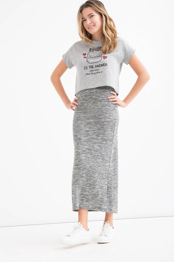 Teen long stretch skirt, Grey Marl, hi-res
