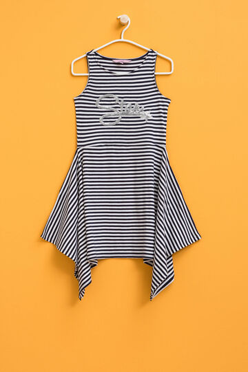 Striped sleeveless dress with sequins, White/Blue, hi-res