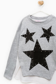 Sweatshirt with print and studs, Light Grey, hi-res