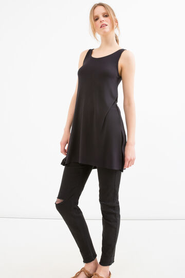 Long viscose top with slits, Black, hi-res