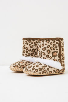 Faux fur animal print ankle boots, Beige, hi-res