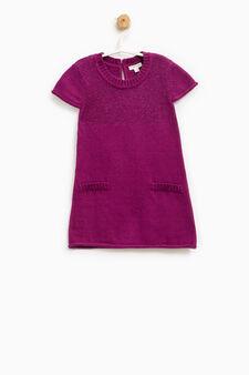 Cotton and wool glitter dress, Royal Purple, hi-res