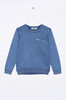 100% cotton knitted pullover, Deep Blue, hi-res