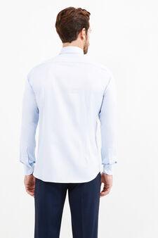 Slim-fit formal shirt in 100% cotton, Soft Blue, hi-res