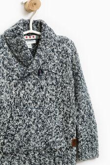 Cotton blend V-neck pullover, Navy Blue, hi-res
