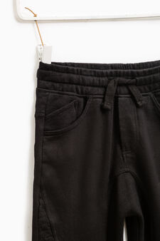 Solid colour cotton gym pants, Black, hi-res