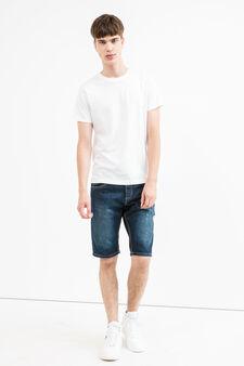 Slim-fit, worn-effect denim Bermuda shorts with rips, Dark Wash, hi-res