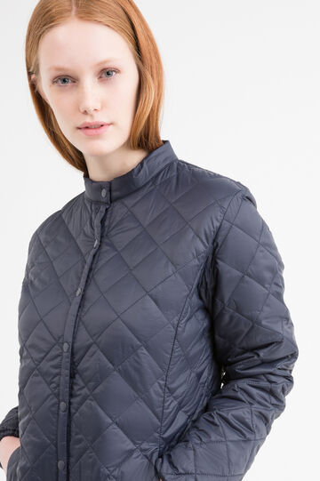 Solid colour quilted down Curvy jacket., Blue, hi-res