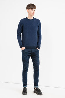 Knitted fantasy pattern sweater, Navy Blue, hi-res