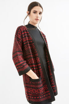 Long cardigan with patterned pockets, Black, hi-res