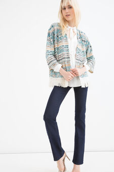 Fleece cardigan with pattern and fringes, Orange, hi-res