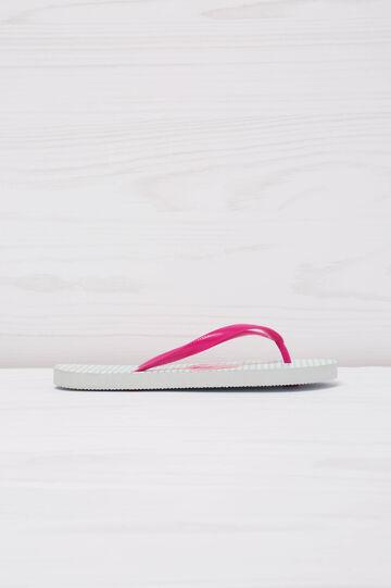 Flamingo print thong sandals, White, hi-res