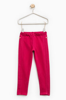 Solid colour 100% cotton jeggings, Cherry Red, hi-res