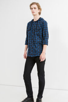 Slim-fit casual shirt with small double pocket, Black/Blue, hi-res