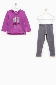 100% cotton tracksuit with tulle bows, Plum, hi-res