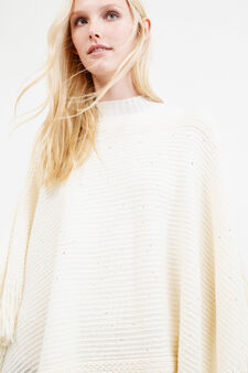 Cape with sequins and fringes, Chalk White, hi-res