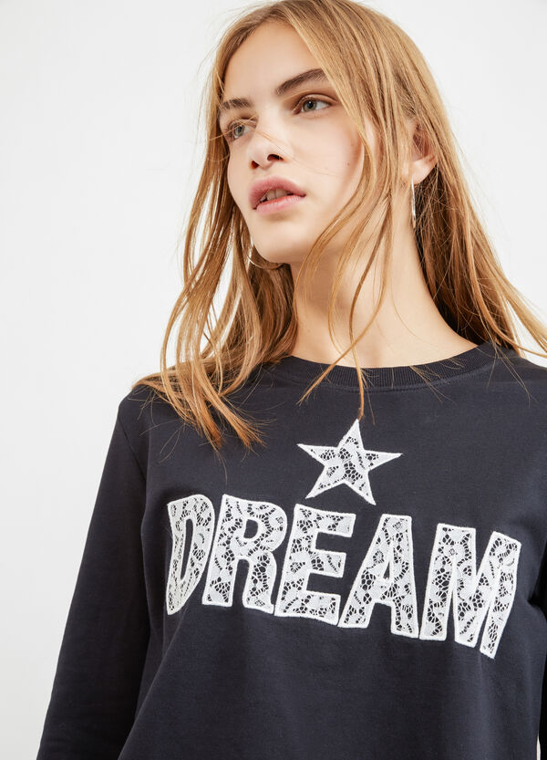 Cotton blend sweatshirt with printed lettering | OVS