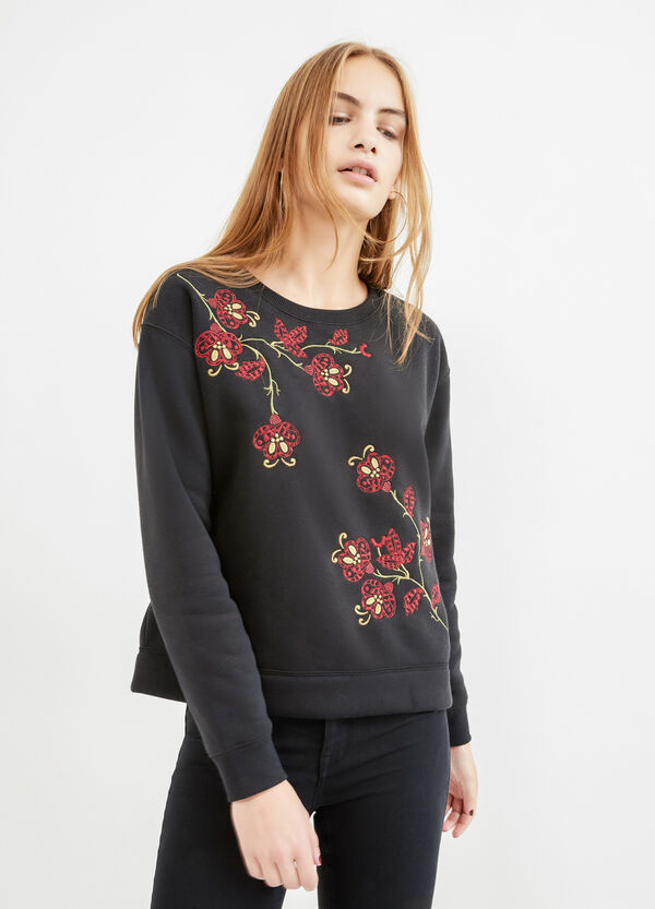 Cotton blend sweatshirt with embroidery | OVS