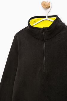 Fleece sweatshirt with high neck, Black/Yellow, hi-res