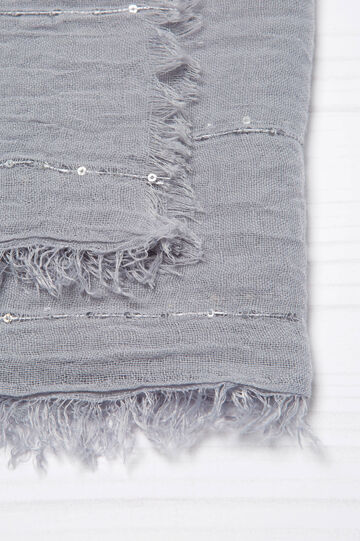 Solid colour scarf with sequins, Light Grey, hi-res