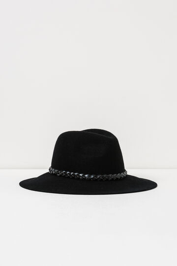 Hat with woven band., Black, hi-res