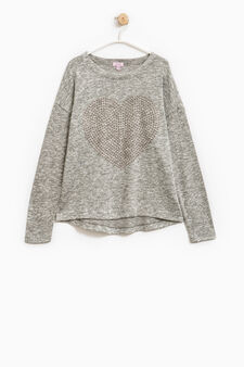 Viscose pullover with heart-shaped studs, Grey Marl, hi-res