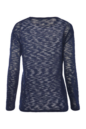 Smart Basic patterned stretch T-shirt, Navy Blue, hi-res