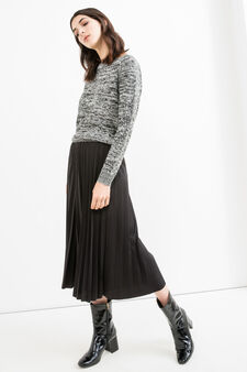 Round neck pullover with raglan sleeves, Black/White, hi-res