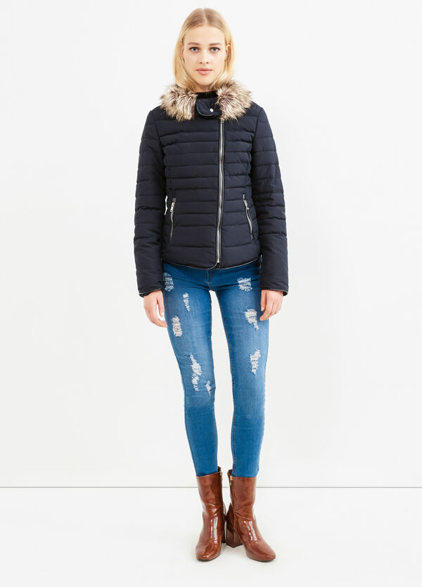 Solid colour down jacket with fur trim | OVS