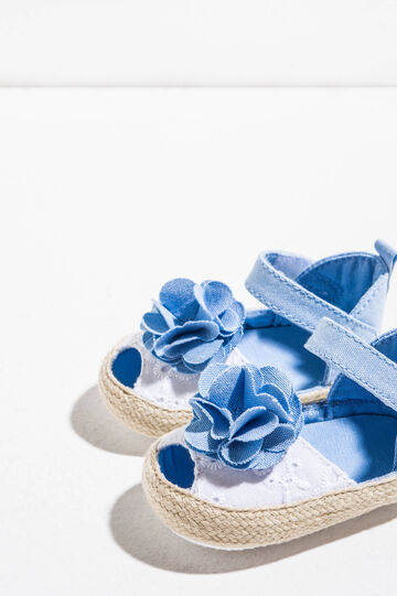 Sandals with embroidered upper and flower, White/Blue, hi-res