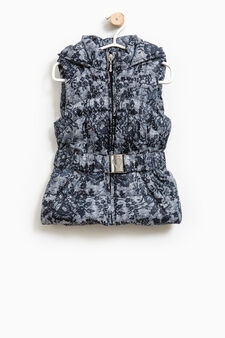 Gilet imbottito stampa all-over, Blu, hi-res