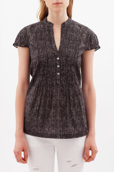 Pleated blouse with lurex, Black, hi-res