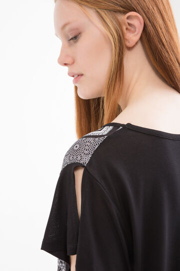 Curvy printed T-shirt in viscose., Black, hi-res