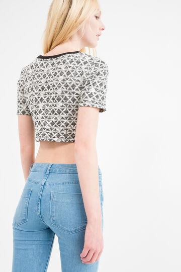 T-shirt crop misto cotone e lurex, Bianco/Nero, hi-res