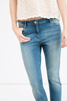 Slim fit jeans with whiskering and turn-ups, Dark Blue, hi-res