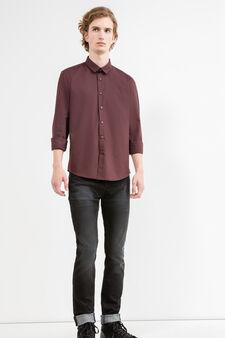 Solid colour slim-fit casual shirt, Claret Red, hi-res