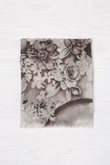 Scarf with floral pattern, Grey, hi-res