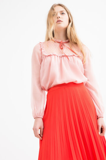 Blouse with long sleeves, Pink, hi-res