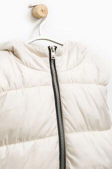 Padded waistcoat with hood, Sand, hi-res