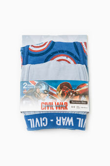 Stretch cotton boxers with Civil War print, Royal Blue, hi-res