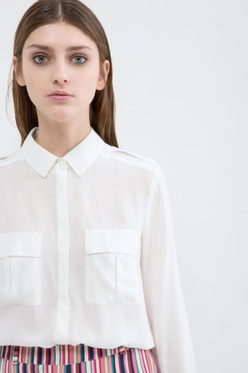Solid colour shirt in 100% viscose, White, hi-res