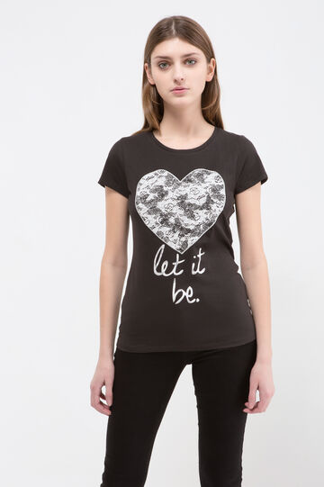 Cotton blend printed T-shirt, Black, hi-res