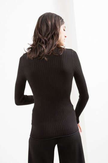 Ribbed viscose pullover with high neck, Black, hi-res