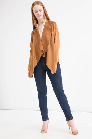 Curvy suede look jacket, Tobacco Brown, hi-res
