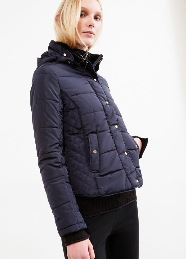 High neck down jacket with faux-fur lining | OVS