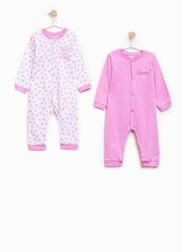 Pack de dos peleles de pijama en color liso y con mariposas | OVS