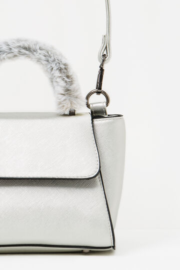 Handbag with fur handle, Grey/Silver, hi-res